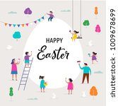 happy easter scene with... | Shutterstock .eps vector #1009678699