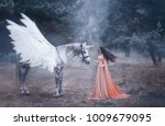 Small photo of Beautiful, young elf, walking with a unicorn in the forest She is dressed in a long orange dress with a cloak. The plume beautifully waves in the wind. Artistic Photography