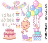 birthday party decoration set.... | Shutterstock .eps vector #1009682521