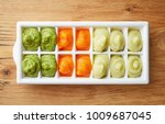 pureed baby food in ice cube... | Shutterstock . vector #1009687045