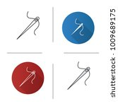 sewing needle with thread icon. ... | Shutterstock .eps vector #1009689175