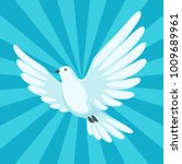 background with white dove.... | Shutterstock .eps vector #1009689961