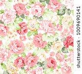 seamless pattern of a rose... | Shutterstock . vector #1009690141