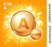 vitamin a retinol. vitamin gold ... | Shutterstock . vector #1009691449