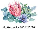 bouquet of exotic flowers ... | Shutterstock . vector #1009695274