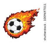 soccer ball in flame  ball in... | Shutterstock .eps vector #1009697011
