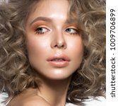 beautiful blonde girl with... | Shutterstock . vector #1009706899
