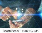 bitcoin on smartphone screen... | Shutterstock . vector #1009717834