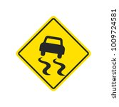 slippery road warning sign with ... | Shutterstock .eps vector #1009724581