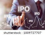 businessman presses button ipo... | Shutterstock . vector #1009727707