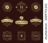 luxury logos templates set ...   Shutterstock .eps vector #1009751101