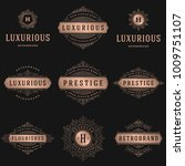 luxury logos templates set ... | Shutterstock .eps vector #1009751107