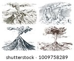volcano activity with magma ... | Shutterstock .eps vector #1009758289