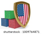 usa flag shield and containers... | Shutterstock . vector #1009764871
