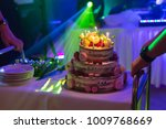 delicious cake with burning... | Shutterstock . vector #1009768669