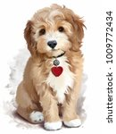 Stock photo shaggy yellow puppy watercolor painting 1009772434