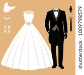 wedding card with the clothes...   Shutterstock .eps vector #1009798579
