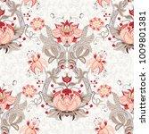 seamless floral vintage... | Shutterstock . vector #1009801381
