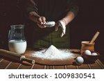 bakery. preparation of bread... | Shutterstock . vector #1009830541