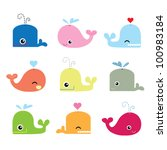 cute whale characters | Shutterstock .eps vector #100983184