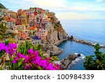 village of manarola  on the... | Shutterstock . vector #100984339