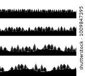 coniferous trees silhouettes... | Shutterstock . vector #1009847395