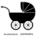 Baby Carriage   Isolated Black...