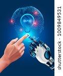 human hand touches robot hand.... | Shutterstock .eps vector #1009849531