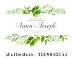 wedding invitation with green... | Shutterstock .eps vector #1009850155