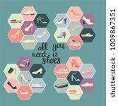 hand darwn vector fashion icon... | Shutterstock .eps vector #1009867351