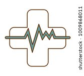 cross with pulse cardiac | Shutterstock .eps vector #1009868011