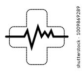 cross with pulse cardiac | Shutterstock .eps vector #1009869289