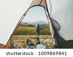 travel camping couple view from ... | Shutterstock . vector #1009869841