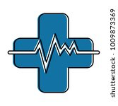 cross with pulse cardiac | Shutterstock .eps vector #1009873369