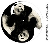 two pandas are on the sign yin... | Shutterstock .eps vector #1009876339