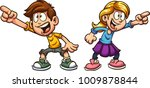 cartoon boy and girl pointing... | Shutterstock .eps vector #1009878844