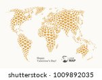 love  world map with gold...   Shutterstock .eps vector #1009892035