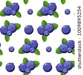 blueberry vector seamless... | Shutterstock . vector #1009895254