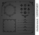 vintage set of horizontal ... | Shutterstock . vector #1009895809
