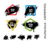 set of black paint  ink brush... | Shutterstock .eps vector #1009899451