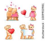 teddy bears collection  couple... | Shutterstock .eps vector #1009903981