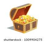 beautiful wooden treasure chest ... | Shutterstock .eps vector #1009904275