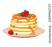 stack of pancakes on a plate... | Shutterstock . vector #1009904737