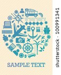 travel icons card template | Shutterstock .eps vector #100991341