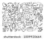 set of handmade doodles with... | Shutterstock .eps vector #1009920664
