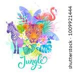tropical summer arrangement.... | Shutterstock .eps vector #1009921444