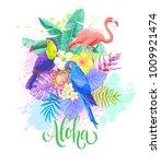 tropical summer arrangement.... | Shutterstock .eps vector #1009921474
