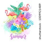 tropical summer arrangement... | Shutterstock .eps vector #1009921489