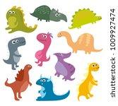cute vector cartoon dinosaurs... | Shutterstock .eps vector #1009927474