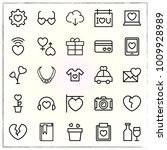 valentine's day line icons set... | Shutterstock .eps vector #1009928989